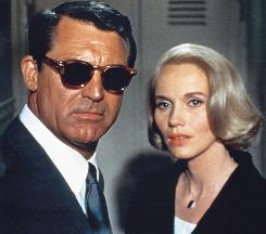 Cary Grant, mistaken for a spy, and Eva Marie Saint stare death in the face in North by Northwest.