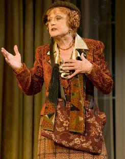Angela Lansbury stars as Madama Arcati, a medium well-done, in Blithe Spirit, showing at the Shubert Theatre.