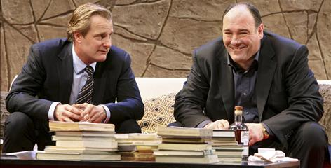 Jeff Daniels, left, and James Gandolfini star as dueling dads in God of Carnage, playing at the Bernard Jacobs Theatre.