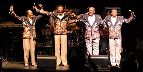 """Harold Jenkins, left, Ernest Wright, Clarence Collins and """"Little Anthony"""" Gourdine take the stage in Fort Lauderdale in March. They celebrated their 50th anniversary last year, and will be inducted into the Rock and Roll Hall of Fame on Saturday."""