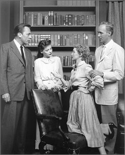 Guiding Light premiered on June 30, l952. Shown here in a scene: Herb Nelson as Joe Roberts, left, Ellen Demming as Meta Bauer Roberts, Susan Douglas as Joe's daughter Kathy, and Lyle Sudrow as Bill Bauer, Meta's brother.
