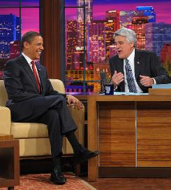 When President Obama's appeared on Jay Leno's talk show, 14.6 million viewers tuned in, Leno's biggest audience in more than a decade.