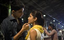 Jamal (Dev Patel) pines for Latika (Freida Pinto) in the Oscar-winning Slumdog Millionaire.