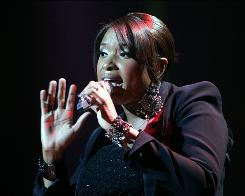 Singer Jennifer Hudson performs at the Palace Theatre in Albany, N.Y., on Tuesday, opening night of her first solo tour.