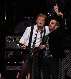Former Beatles Paul McCartney and Ringo Starr reunite on A Little Help From My Friends for a David Lynch Foundation benefit concert Saturday night in New York.