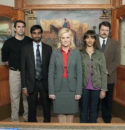 Parks and Recreation team: Mark (Paul Schneider), left, Tom (Aziz Ansari), Leslie (Amy Poehler), Ann (Rashida Jones) and Ron (Nick Offerman).
