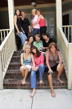 In 2007, the surviving friends met in North Carolina for a reunion and posed for a photo in the same order as the snapshot taken in 1981, below. Top row from left: Karla, Cathy, Sally and Karen. Middle row: Jane, Angela and Marilyn. Bottom row: Diana, Jenny and Kelly.