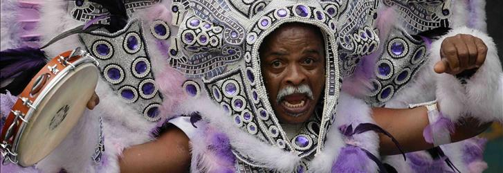 Local pride: Mardi Gras Indian David Montana performs during the 2008 New Orleans Jazz and Heritage Festival.