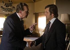 Battling words: President (Frank Langella) and interviewer (Michael Sheen) in Frost/Nixon.
