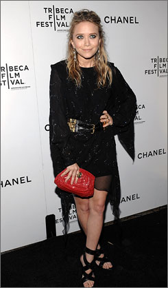 Mary-Kate Olsen strikes a pose on the red carpet at the 4th annual Tribeca Film Festival dinner.
