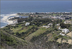 An ocean view seen from the hills adjacent to the proposed Malibu development of U2 guitarist The Edge.