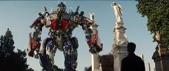 The Autobot Optimus Prime hides out in a cemetery in Transformers: Revenge of The Fallen.