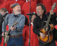 Inauguration concert: Pete Seeger and Bruce Springsteen perform This Land Is Your Landat the Lincoln Memorial in January.