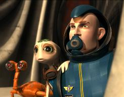 A lot in common: Giddy (voiced by David Cross), left, Mala (Evan Rachel Wood) and Capt. Jim Stanton (Luke Wilson).