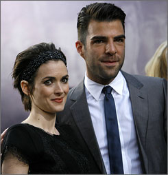 Star Trek stars Winona Ryder and Zachary Quinto strike a pose on the red carpet at the film's premiere.