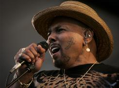 Angelic voice: Aaron Neville performs on Sunday at the Jazz Fest in New Orleans.