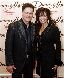 April 2009: Donnie and Marie Osmond dance as part of their Flamingo HOtel show in Las Vegas.