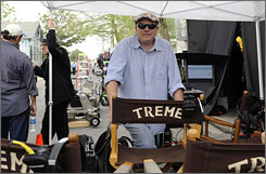 David Simon, creator of such shows as The Wire, works on the set of Treme, a television pilot set in post-Hurricane Katrina New Orleans.