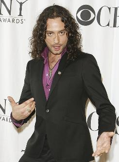 American Idol alumnus Constantine Maroulis, who was nominated for his role as an aspiring musician in the campy Rock of Ages, arrives for the reception.