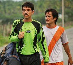 Diego Luna, left, and Gael Garcia Bernal star as brothers who are recruited to play professional soccer in Mexico City.