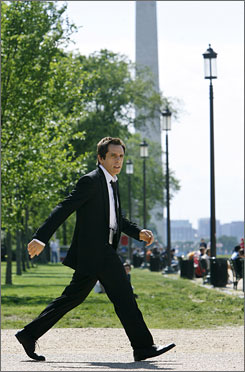 Ben Stiller strides across the National Mall while filming a scene forNight at the Museum: Battle of the Smithsonian in Washington. The museum complex is hoping the cinematic spotlight will boost visitation.