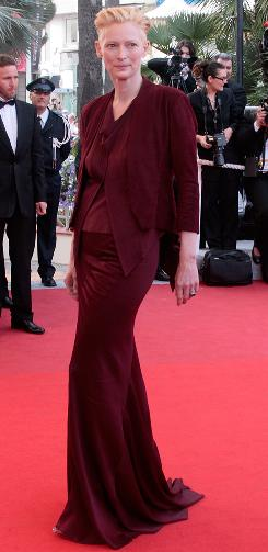 Tilda Swinton arrives for the opening ceremony of the Cannes Film Festival and the screening of the 3-D animated movie Up on Wednesday.