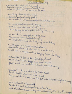 The first page of a poem, penned by Bob Dylan as a teenager, about a little dog who met a tragic end.