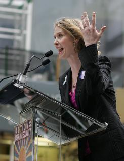 Engaged: Cynthia Nixon shows off her ring at a marriage equality rally Sunday in NYC.