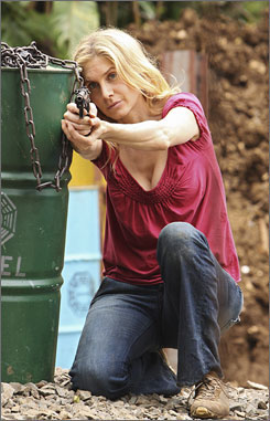 Taking aim and taking names: Juliet (Elizabeth Mitchell) gets down to business on the Lost season finale.