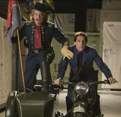 Riding through time: Guard-turned-corporate bigwig Larry (Ben Stiller, right) meets more historic figures, including Gen. Custer (Bill Hader), in Battle of the Smithsonian.