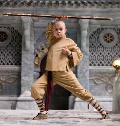 The good guy: Noah Ringer, 12, already had the look of Aang, an Avatar who can manipulate weather, because he usually shaves his head to keep him cool for tae kwon do (he has a black belt).