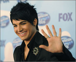 Idol runner-up Adam Lambert poses backstage following the show's finale Wednesday in Los Angeles.