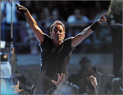 Bruce Springsteen performs during his Working on a Dream tour Thursday in East Rutherford, N.J.