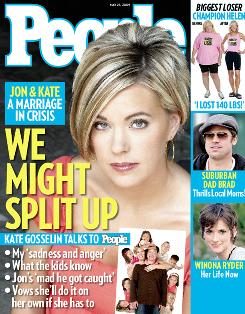 """People managing editor Larry Hackett says the Kate Gosselin cover magazine sold """"very, very well."""" He says: """"The authenticity of the story, however painful, is what's ringing through to people, and that's why they're paying attention."""""""