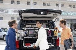 Mark Feuerstein, left, plays Hank Lawson, an emergency-room physician who finds himself in the Hamptons taking care of the rich and famous. Reshma Shetty and Paulo Costanzo also star in Royal Pains.