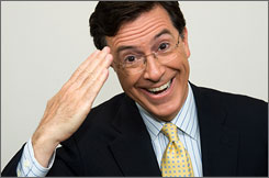 Stephen Colbert salutes on May 27 in New York.