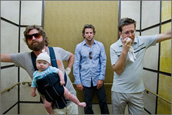Zach Galifianakis, Bradley Cooper and Ed Helms bring on the laughs in The Hangover.