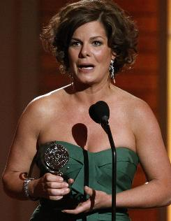 An emotional Marcia Gay Harden wins as best leading actress for God of Carnage, which also won Tonys for play and for its director, Matthew Warchus.