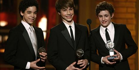 Billly Elliot stars David Alvarez, left, Kiril Kulish and Trent Kowalik accept the Tony for best leading actor(s) in a musical.
