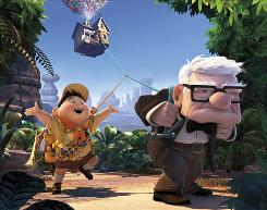 Russell, left (voiced by Jordan Nagai), and Carl (Ed Asner) take Carl's house along for the ride in the wilds of South America.