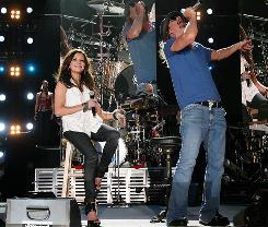 Genre-bending combo: Martina McBride and Kid Rock at LP Field on Friday.