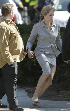 Star power in the streets: Angelina Jolie works on the movie Salt in D.C. in March.