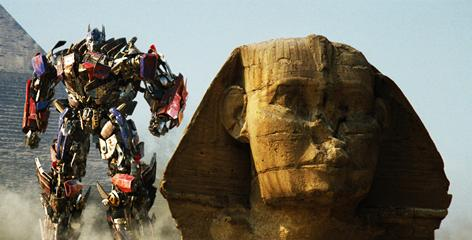 Pyramids and pyrotechnics: Amid an Egypt locale backdrop, the Autobot Optimus Prime returns for a fiery battle with the Decepticons in Transformers: Revenge of the Fallen, opening Wednesday. 