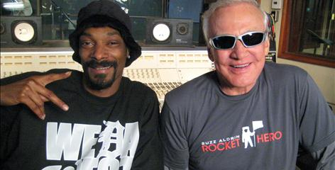 "Snoop Dogg says he was happy to rap with astronaut Buzz Aldrin, who ""pushes kids to achieve their dreams"" with his ShareSpace Foundation. Their rap video, and an autobiography of Aldrin, arrives today."