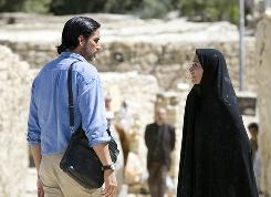 Jim Caviezel, left, and Shohreh Aghdashloo star in The Stoning of Soraya M.
