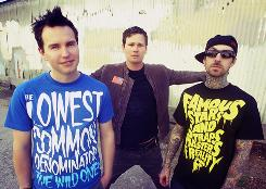 Appearing at Virgin Mobile's FreeFest: Mark Hoppus, left, Tom Delonge and Travis Barker of Blink-182.