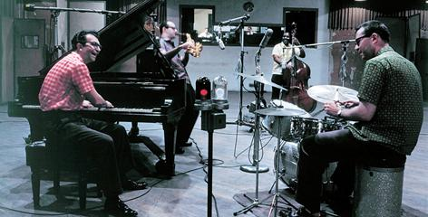 In the studio: Dave Brubeck, left, Paul Desmond, Eugene Wright and Joe Morello at work on Time Out in 1959.