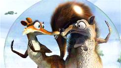 The hapless acorn-chasing Scrat, right, falls in love with saucy Scratte.