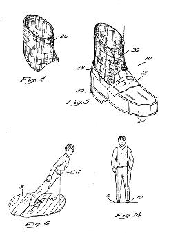 No. 5,255,452 on the books: Michael Jackson's patent is for shoes that allow a person to sway past his center of gravity by hitching a heel slot in the shoes to a peg in the stage floor. The patent ended in 2005, though, after a government fee was not paid.