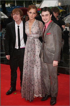 Rupert Grint, Emma Watson and Daniel Radcliffe attend the London premiere of Harry Potter and the Half-Blood Prince.